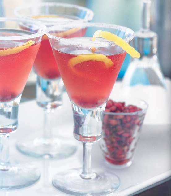 2 ounces (1/4 cup) citrus vodka 1 ounce (2 tablespoons) pomegranate juice